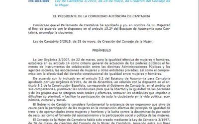 Ley de Cantabria 3/2018, de 28 de mayo, de Creación del Consejo de la Mujer.